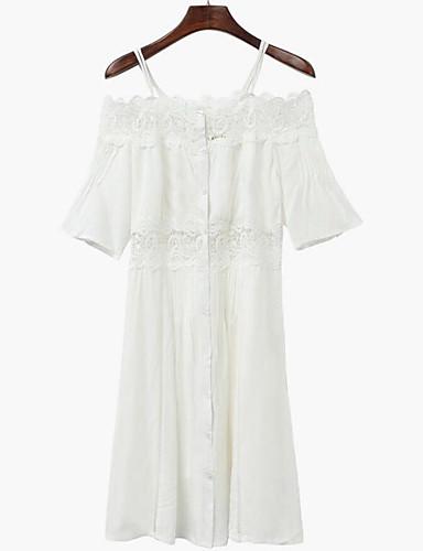Damen Swing Kleid-Lässig/Alltäglich Solide Gurt Midi Kurzarm Baumwolle Sommer Hohe Hüfthöhe Unelastisch Dünn