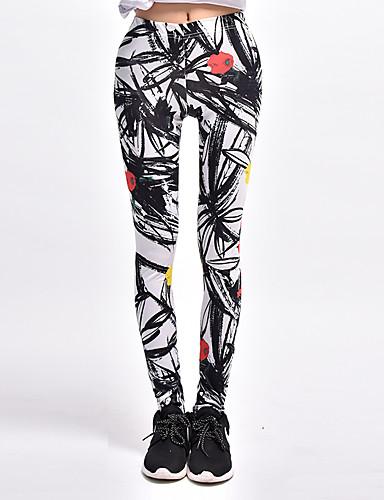 Women's Print Legging - Solid Color, Print Mid Waist