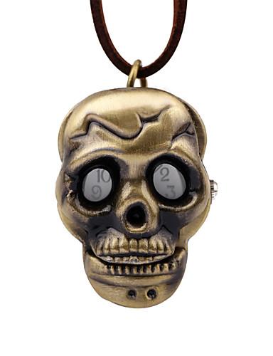 Homens Relógio de Bolso Mecânico - de dar corda manualmente Couro Marrom Relógio Casual Analógico Vintage Caveira - Bronze