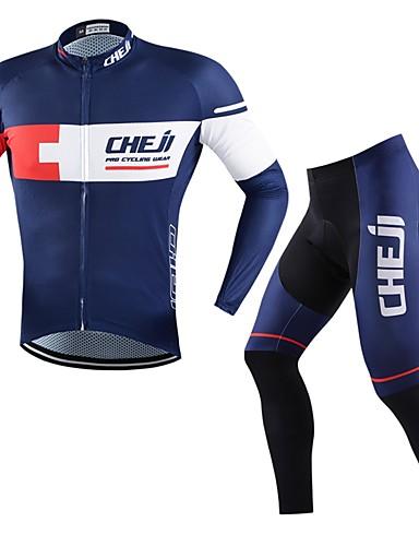 cheap Cycling Clothing-cheji® Men's Long Sleeve Cycling Jersey with Tights - White Dark Blue Bike Clothing Suit Quick Dry Sports Fashion Mountain Bike MTB Road Bike Cycling Clothing Apparel
