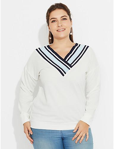 Naisten V kaula-aukko Polyesteri T-paita,Yhtenäinen Raidoitettu