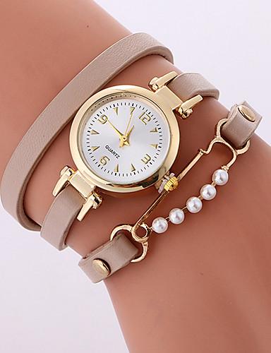 cheap Bracelet Watches-Women's Bracelet Watch Quartz Wrap Quilted PU Leather Black / White / Beige 30 m Casual Watch Cool Analog Ladies Casual Fashion - Black Beige Fuchsia