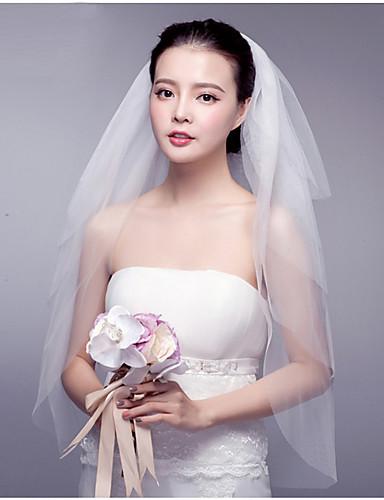 Four-tier Cut Edge / Lace Applique Edge Wedding Veil Blusher Veils / Fingertip Veils with Ruffles Tulle / Angel cut / Waterfall