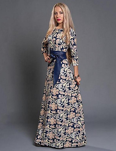 Women's Party / Daily / Holiday Boho Maxi Sheath Dress - Floral Print Fall Blue M L XL / Going out / Club