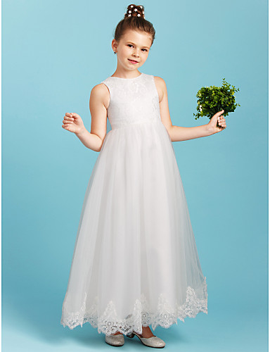 Princess Ankle Length Flower Girl Dress - Lace Tulle Sleeveless Crew ...