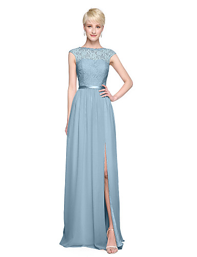 a7694c2dd47 A-Line Bateau Neck Floor Length Chiffon   Lace Bodice Bridesmaid Dress with  Appliques   Sash   Ribbon   Pleats by LAN TING BRIDE®  05411809