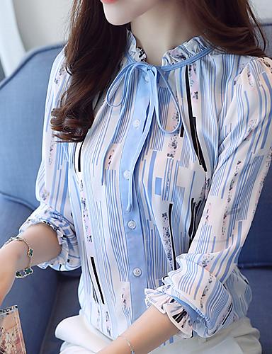 baratos Blusas Femininas-Mulheres Blusa - Trabalho Estampado, Listrado Colarinho Chinês Azul / Primavera / Outono / Com Laço