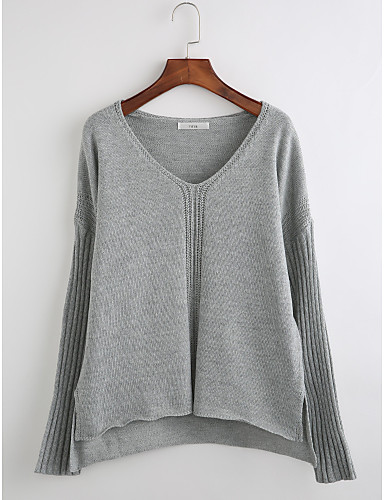 Women's Daily Casual Striped V Neck Pullover, Long Sleeves Winter Fall