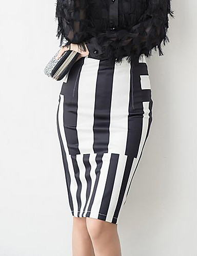 Women's Going out Holiday Street chic Bodycon Skirts - Striped Split