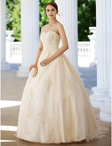 Báli ruha Pánt nélküli Seprő uszály Csipke / Tüll Made-to-measure esküvői ruhák val vel Rátétek által LAN TING BRIDE® / Színes menyasszonyi ruhák / Open Back