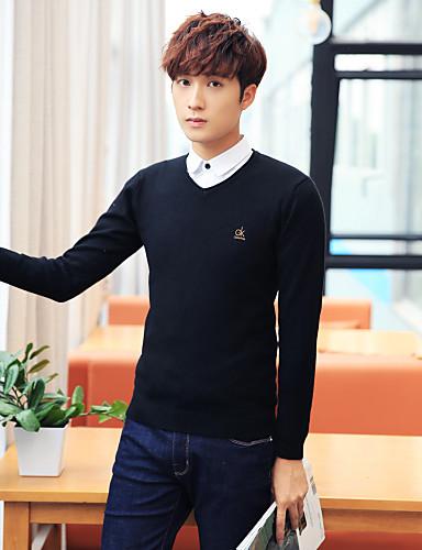 Men's Plus Size Pullover - Solid V Neck