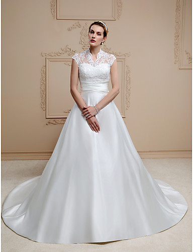A-Line Illusion Neck Chapel Train Lace / Satin Made-To-Measure Wedding Dresses with Appliques / Buttons / Sashes / Ribbons by LAN TING