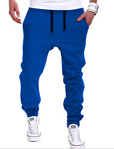 cheap Men's Pants & Shorts-Men's Active / Street chic Cotton Harem / Sweatpants Pants - Solid Colored Khaki / Sports / Weekend