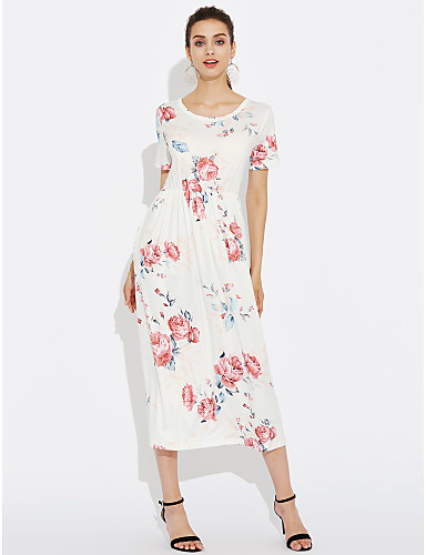 여성 칼집 스윙 드레스 일상 데이트 홀리데이 빈티지 섹시 보호 플로럴,라운드 넥 미디 짧은 소매 폴리에스테르 봄 여름 높은 밑위 약간의 신축성 중간