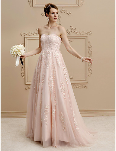 A-Line / Princess Strapless Sweep / Brush Train Lace / Tulle Made-To-Measure Wedding Dresses with Beading / Appliques / Buttons by LAN