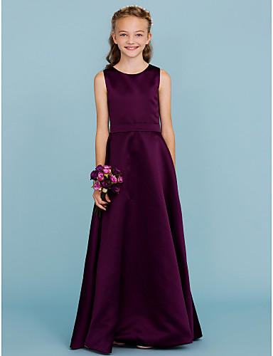 11e2929ecad3 A-Line Jewel Neck Floor Length Satin Junior Bridesmaid Dress with Sash /  Ribbon by LAN TING BRIDE® / Wedding Party / Open Back