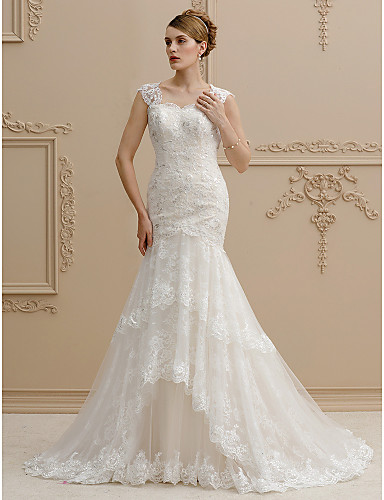 Mermaid / Trumpet Square Neck Court Train Lace Over Tulle Made-To-Measure Wedding Dresses with Sequin / Appliques / Buttons by LAN TING BRIDE® / Wedding Dress in Color / See-Through / Beautiful Back