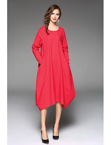 Mulheres Algodão Túnicas Vestido Sólido Médio Vermelho
