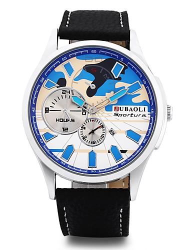 JUBAOLI Męskie Kwarcowy Zegarek na nadgarstek Chiński Duża tarcza Stop Skóra Pasmo Urok Unikalny twórczy zegarek Czarny
