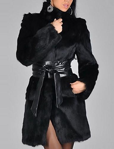 Women's Street chic Long Plus Size Fur Coat - Solid Colored, Fur Trim Stand