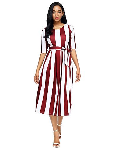 3986d4147171 Women s Party   Holiday Loose Dress - Striped Fall Black Purple Wine L XL  XXL
