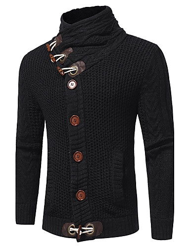 Men's Daily / Going out / Weekend Street chic / Sophisticated Long Sleeve Pullover - Solid Colored Turtleneck