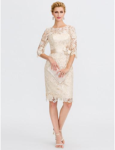 abordables robe invitée mariage-Fourreau / Colonne Illusion Neck Mi-long Tout sur la Dentelle Robe de Mère de Mariée  avec Noeud(s) par LAN TING BRIDE® / Transparent