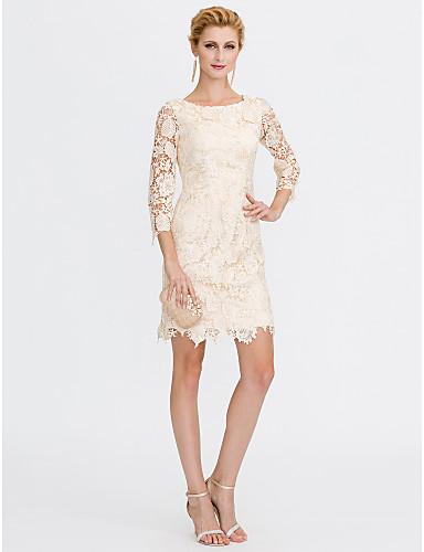 Szűk szabású Scoop nyak Térdig érő Mindenhol csipke Örömanya ruha val vel Csipke által LAN TING BRIDE®