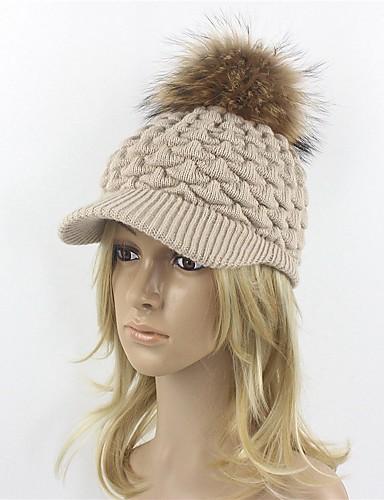 Női Egyszínű Tiszta szín Gyapjú, Kalap / Kötöttáru - Széles karimájú kalap / Sísapka / Baseball sapka / Ősz / Tél / Szalmakalap