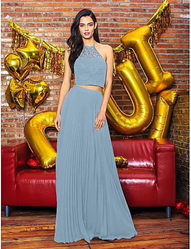billige Todelte kjoler-A-linje Illusjon Hals Gulvlang Chiffon / Blonder To deler Cocktailfest / Skoleball / Formell kveld Kjole med Blonder av TS Couture®