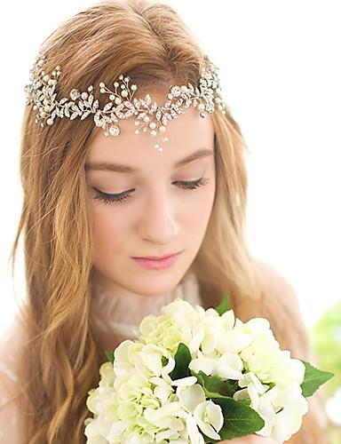 voordelige Koninklijke trouwjurken-Kristal / Imitatieparel hikinauhat / Hoofddeksels / Pääketju met Bloemen 1pc Bruiloft / Speciale gelegenheden / Verjaardag Helm