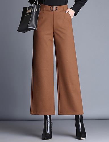 Women's Plus Size Wide Leg Pants - Solid Colored