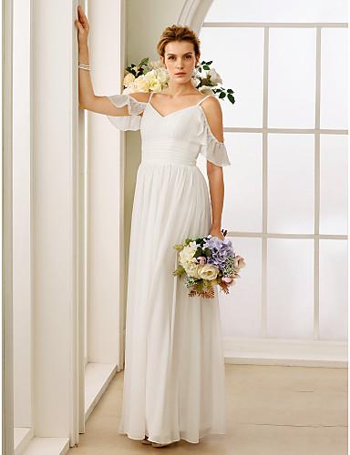 A-vonalú Hercegnő Spagettipánt Földig érő Sifon Egyéni esküvői ruhák val vel Csokor Ráncolt által LAN TING BRIDE®