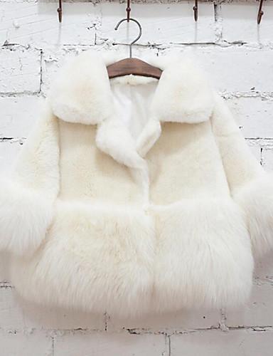 Műszőrme Speciális bunda típus Egyszínű Tél Hosszú ujj Lány Zakó és dzseki Fehér