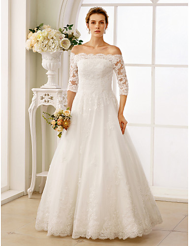 cheap Wedding Dresses-A-Line Off Shoulder Floor Length Lace / Tulle / Lace Over Tulle Made-To-Measure Wedding Dresses with Beading / Ruched by LAN TING BRIDE® / Illusion Sleeve