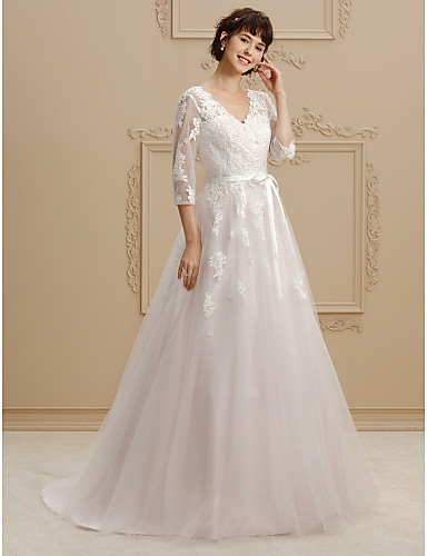 bb57e47a23 Ball Gown V Neck Court Train Lace / Tulle Made-To-Measure Wedding Dresses  with Beading / Appliques / Sashes / Ribbons by LAN TING BRIDE® / Illusion  Sleeve ...