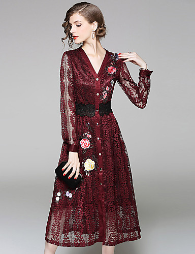 Women's Daily / Going out Street chic / Sophisticated Sheath / Lace / Swing Dress - Embroidered Lace V Neck Fall Gray Wine L XL XXL