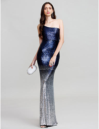Sheath / Column One Shoulder Floor Length Polyester Vintage Inspired Cocktail Party / Prom / Formal Evening Dress with Sequin by TS Couture®