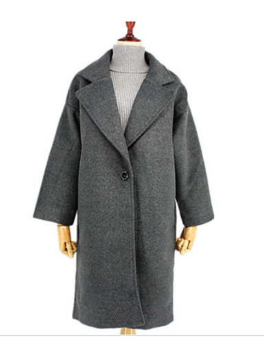 Women's Street chic Cotton Coat - Solid Colored Peter Pan Collar / Winter