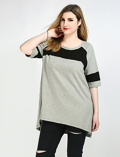 Cute Ann Women's Street chic Plus Size T-shirt - Color Block Patchwork
