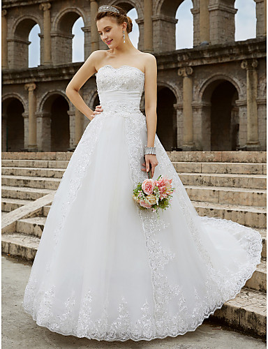 9693a641f39 Ball Gown Strapless Chapel Train Tulle   Glitter Lace Made-To-Measure Wedding  Dresses with Beading   Bow(s) by LAN TING BRIDE®   Open Back