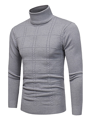 1240a1594392 Men's Daily / Weekend Vintage / Casual Plaid Long Sleeve Plus Size Slim  Regular Pullover, Turtleneck Fall / Winter Navy Blue / Khaki / Light gray  XL / XXL ...