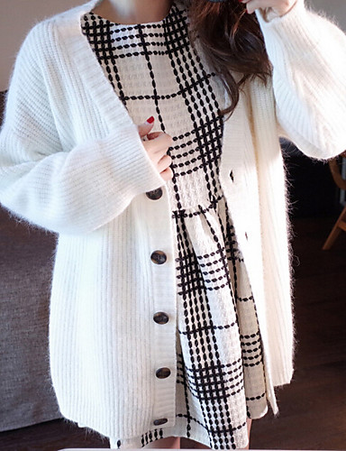 Women's Going out Long Sleeve Wool Cardigan - Solid Colored V Neck / Fall / Winter