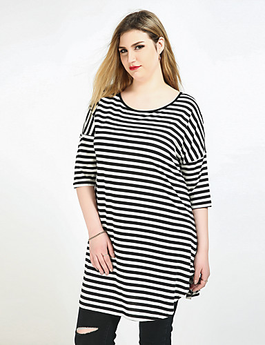 Cute Ann Women's Active Plus Size T-shirt - Striped