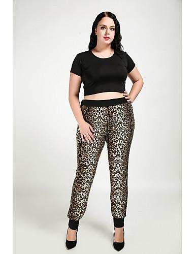 billige Tights til damer-Dame Store størrelser Daglig Skinny / Rett Bukser - Leopard Lysebrun L XL XXL