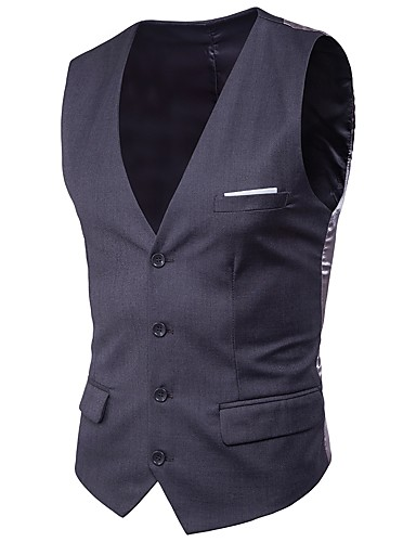 cheap Men's Outerwear-Men's Work Spring / Summer / Fall Plus Size Regular Vest, Solid Colored V Neck Sleeveless Cotton / Polyester Light Blue / Light gray / Royal Blue 4XL / XXXXXL / XXXXXXL / Winter / Slim