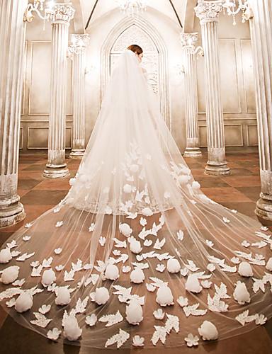 Kétkapcsos Menyasszonyi fátyol Katedrális fátylak val vel Rátétek Csipke / Tüll / Angyal / Vízesés szabású