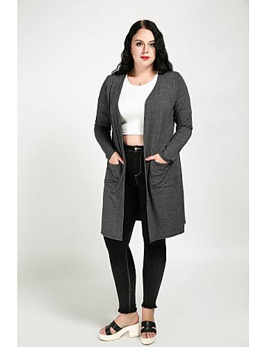 billige Ytterklær til damer-Bomull Store størrelser Overstørrelse, V-hals Trenchcoat - Ensfarget Vintage Dame