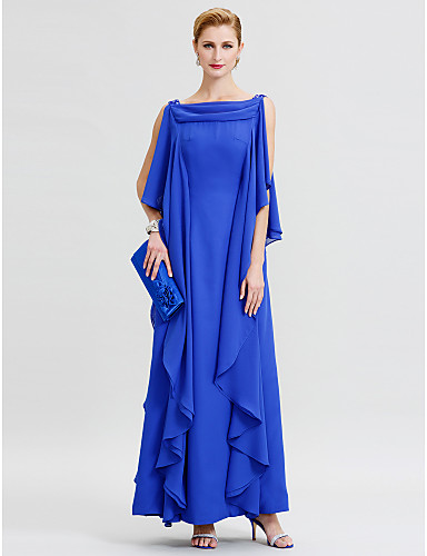 Sheath / Column Cowl Neck Floor Length Chiffon Mother of the Bride Dress with Sequin / Ruffles by LAN TING BRIDE®