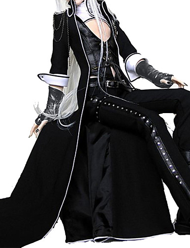 billige Anime Kostymer-Vampyrer Gotisk Lolita Punk Lolita Punk Unisex Drakter Cosplay Svart Dikter Langermet Ankellang kostymer